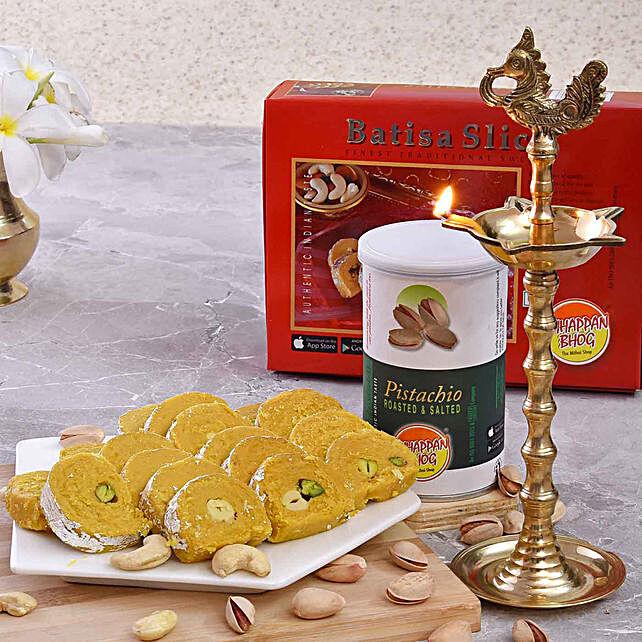 Chhappan Bhog Batisa Slice & Pistachios With Rudraksha Deep