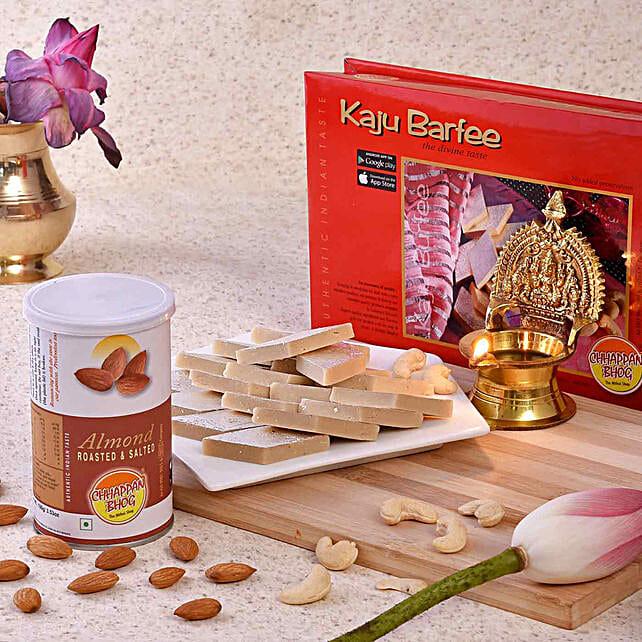 Chhappan Bhog Kaju Barfi & Almonds With Brass Diya
