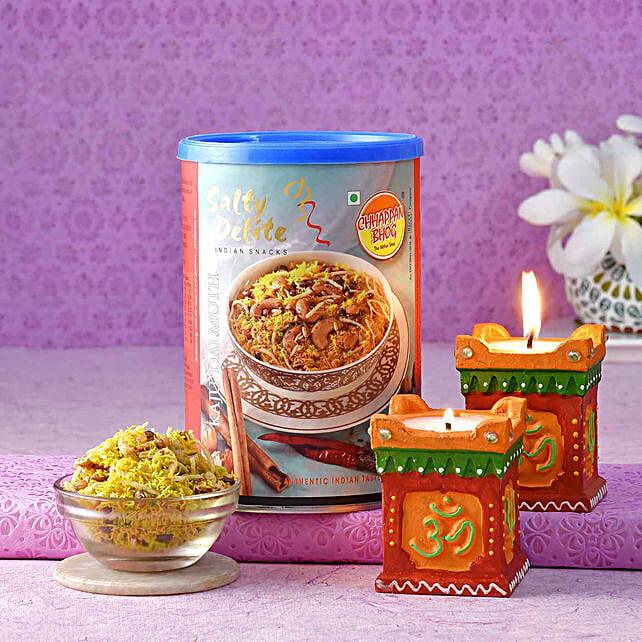 Chhappan Bhog Kaju Dalmoth & Set Of Two Tulsi Diyas