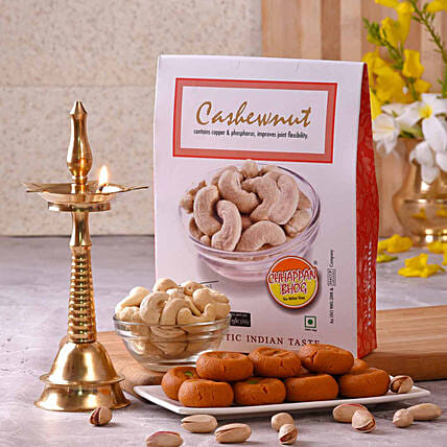 Chhappan Bhog Kesar Peda & Cashew Nuts Pack With Kerala Deep