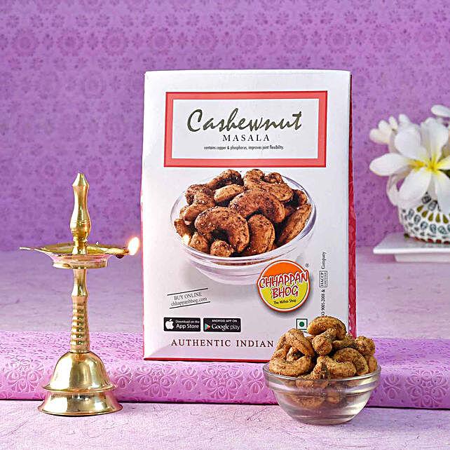 Chhappan Bhog Masala Cashews Pack & Brass Kerala Deep:Send Diyas