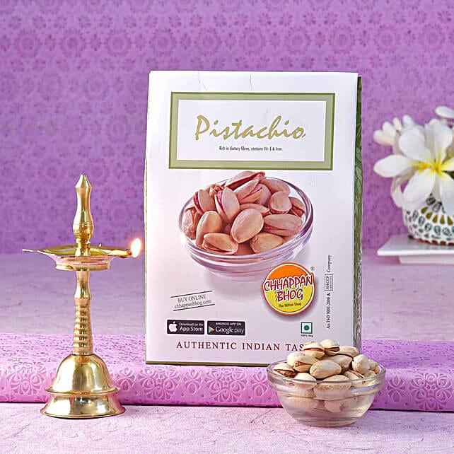 Chhappan Bhog Pistachio Pack & Brass Kerala Deep