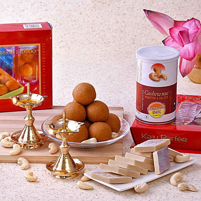 Chhappan Bhog Sweets & Cashews With Brass Uddipi Diyas