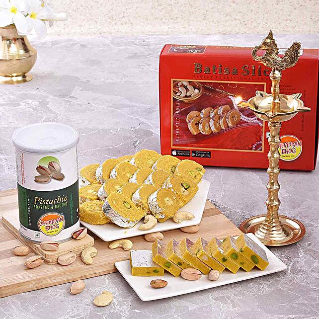 Chhappan Bhog Sweets & Pistachios With Rudraksha Deep