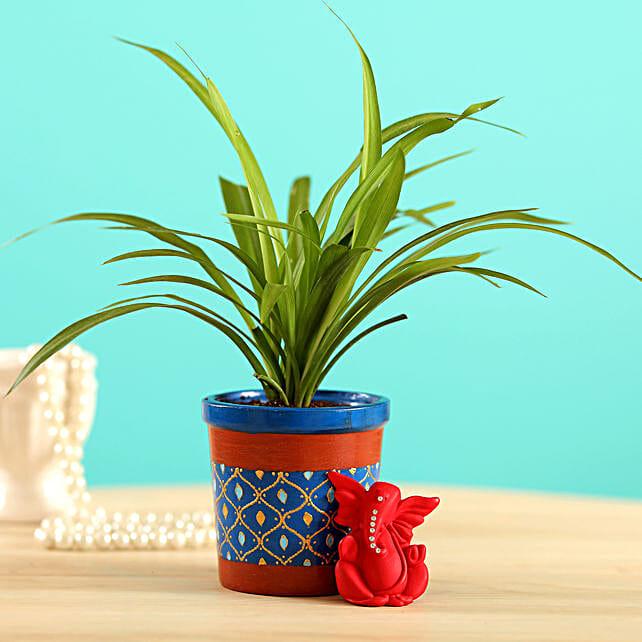 Chlorophytum Plant & Ganesha Idol Combo:Send Diwali Gifts For Girlfriend