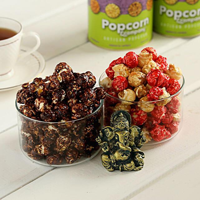 Choco Caramel & Red Velvet Popcorn With Ganesha:Premium Popcorns