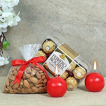 Christmas hamper including Ferrero Rocher Chocolates, Almonds, Red Ball Candles