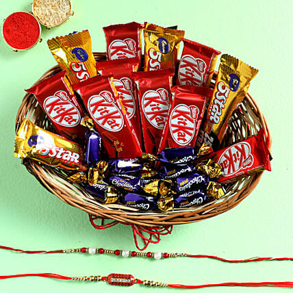 Chocolate Basket With Capsule & Pearl Rakhi