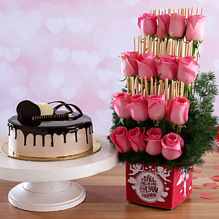 Chocolate Cake & Fall In Love Pink Roses Combo