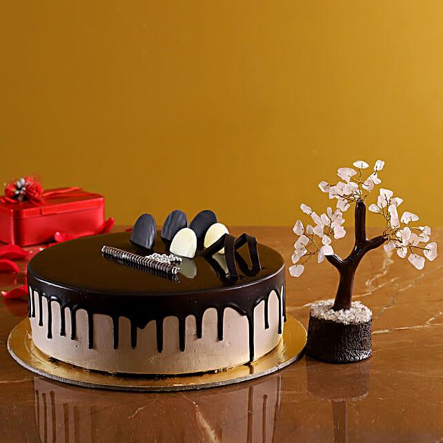 Chocolate Cream Cake And Rose Quartz Wish Tree