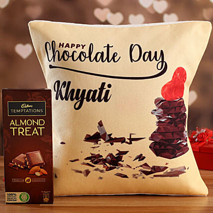 Chocolate Day Personalised Cushion and Cadbury Temptations Hand Delivery