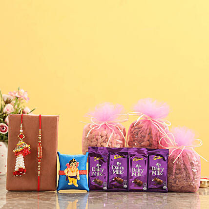 Buy Lumba Rakhi Set With Chocolates and Dry Fruits online