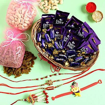Chocolates With Dry Fruits & Set of 5 Rakhis