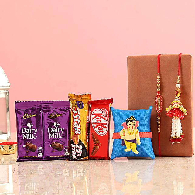Chocolates With Rakhi For Bhai & Family