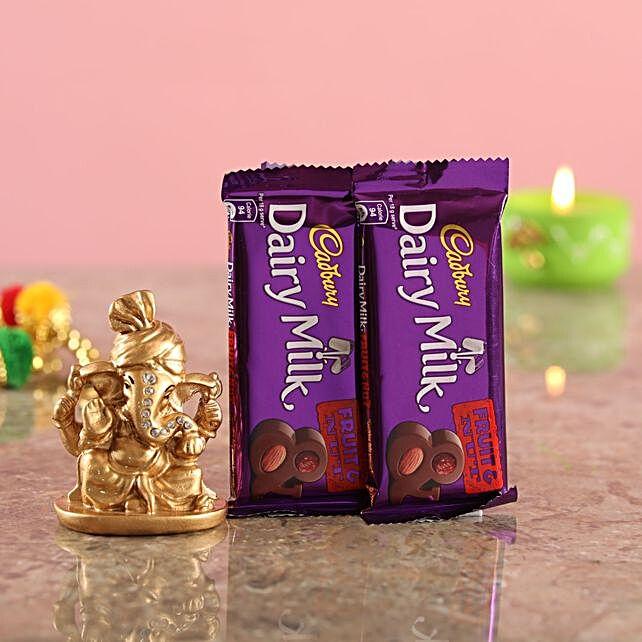 Chocolates With Golden Ganesha Idol