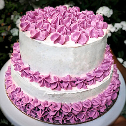 OnlineChocolaty 2 Tier Purple Cake