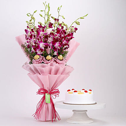 Online Pineapple Cake and Ferrero Orchids Bouquet
