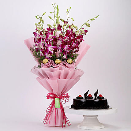 Online Truffle Cake and Ferrero Orchids Bouquet
