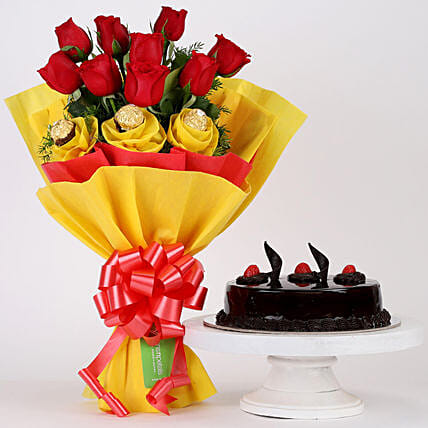 Bunch of Mixed Roses and Cake Combo Online