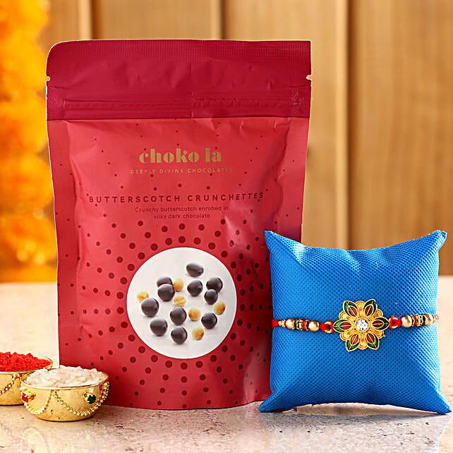 Online Butterscotch Crunchettes And Rakhi:Rakhi With Choko La Gifts
