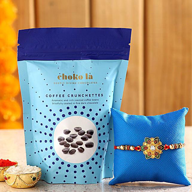 Online Vegan Crunchettes And Rakhi:Rakhi With Choko La Gifts