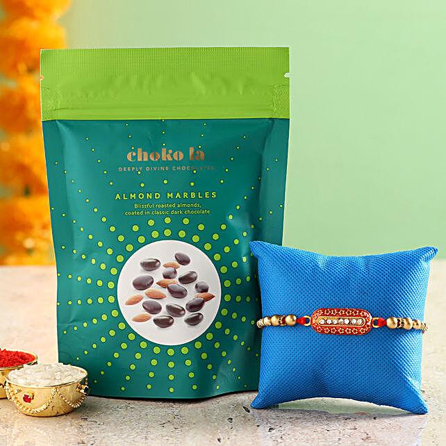 Online Almond Marbles And Rakhi:Rakhi With Choko La Gifts