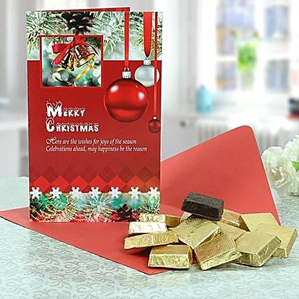 Christmas hamper including Christmas Greeting Card, Square Assorted Chocolates:Send Christmas Gifts to Bangalore
