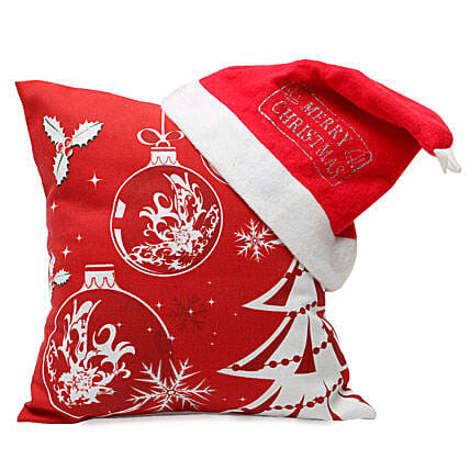 Christmas Cushion & Cap-12x12 inch cushion,merry Christmas cap:Send Gifts to Ambedkar Nagar