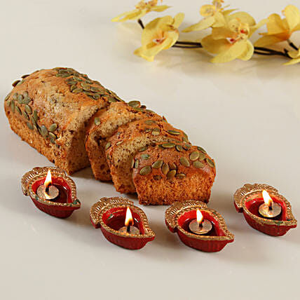 Cinnamon Pumpkin Seeds Dry Cake with Diya Set