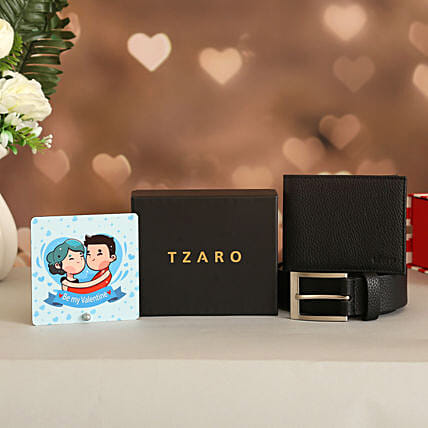 Classic Belt Wallet Set With Valentine Table Top