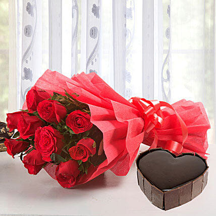 Classic Hamper - Bouquet of 10 red roses and 1Kg of heart shaped  cake.:Heart Shaped Gifts