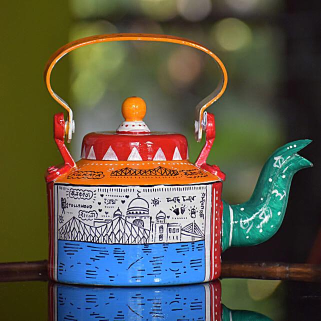 Classic Kolkata Doodled Handpainted Kettle