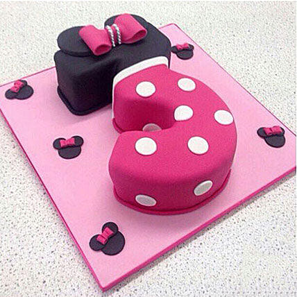 Minnie Mouse 3 Number Cake 2kg:Alphabet Birthday Cake