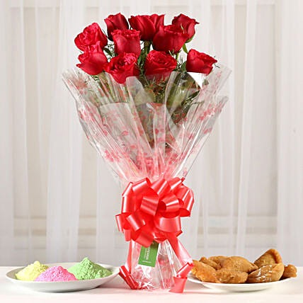 Online Classic Red Roses Bouquet With Gulal & Gujia
