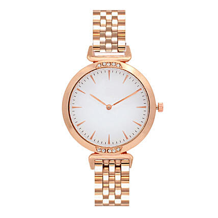 Online Classic White Rosegold Watch