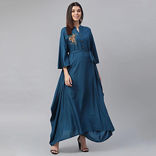 Classy Blue Straight Kurta Set