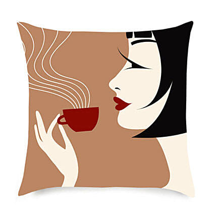 Coffee With Comfort Cushion-12x12 inches girl sipping,coffee designer cushion