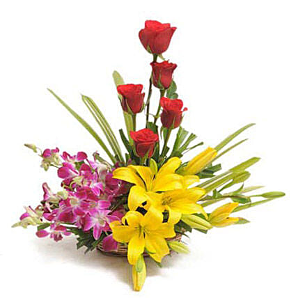 Cane basket arrangement of 5 red roses, 4 purple orchids, 2 yellow asiatic lilies and draceane leaves flowers gifts