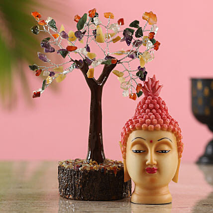 Colourful Gemstone Wish Tree & Pink Buddha Idol