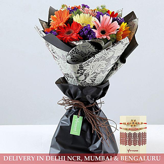 Rakhi and Mixed Flower Combo Online:Send Rakhi With Flowers