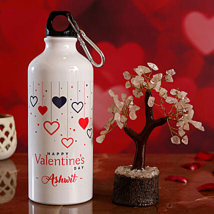 Colourful Hearts V Day Personalised Bottle and Wish Tree Hand Delivery:Personalised Gifts Combo for Valentine's Day
