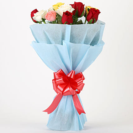 Bouquet of mixed roses gifts:Flowers to Karnal