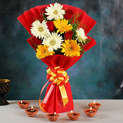 Colourful Roses & Gerberas Bouquet With Clay Diyas