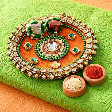 Colourful Stones & Beads Pooja Thali:Send Pooja Thali