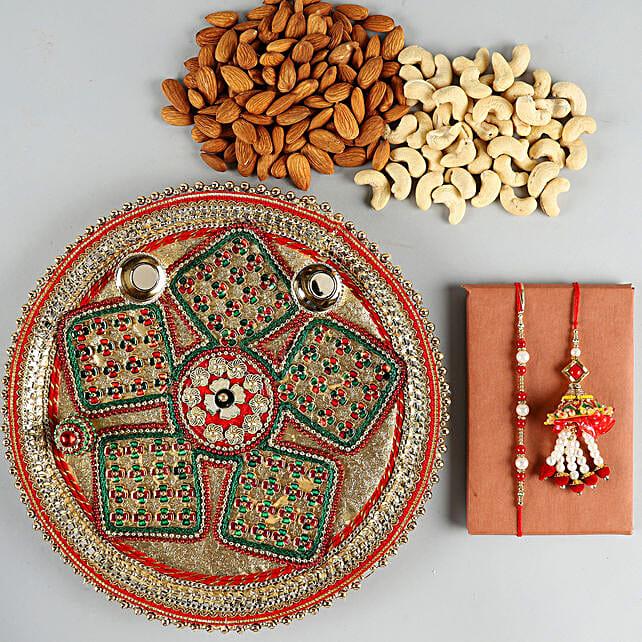 Combo of Rakhis With Pooja Thali & Cashews