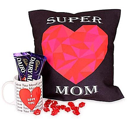 Coffee Hamper-12x12 inches Super Mom cushion,1 white ceramic coffee mug and 2 Cadbury Dairymilk chocolates 38 grams