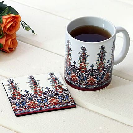 Conventional Print White Ceramic Mug With Coaster
