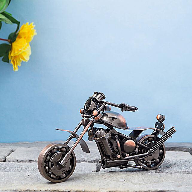 Copper Toned Miniature Metal Motor Bike Showpiece:Home Decor Gifts