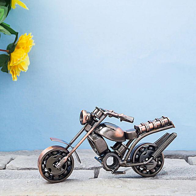 Copper Toned Premium Quality Metal Motor Bike Showpiece