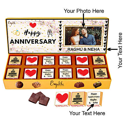 Online Couple Anniversary Personalised Chocolate:Personalised Chocolates for Anniversary